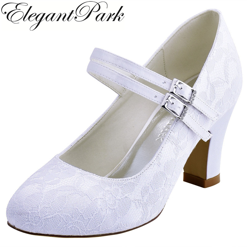 HC1701 Shoes Woman Wedding Bridal Block Heel White Ivory Closed Toe Comfort Mary Jane Lace Bride Lady Bridesmaid Prom Party Pump woman shoes wedding white ivory mid heel comfort peep toe rhinestone lace lady bride bridesmaid bridal prom evening pumps hp1538