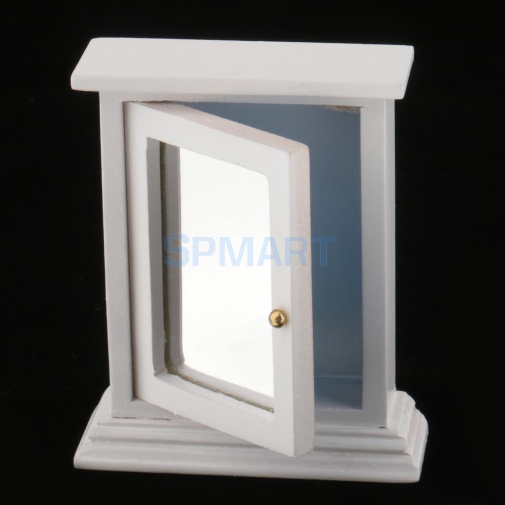 1/12 Scale White Mirror Box Dollhouse Miniature Bathroom Furniture