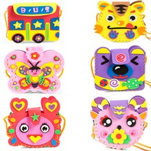 NEW 1pcs Birthday Gift Manual Animal DIY Creative EVA Toy For Children Kindergarten Craft Kits For Children Bag Crafts Cartoon(China)