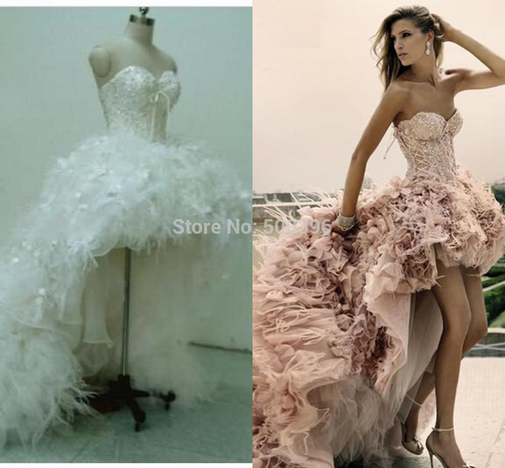 2016 Wedding Dresses High low Sweetheart Short Front Long Back Bridal Wedding Gowns Feather Lace Up Light Pink-in Wedding Dresses from Weddings & ...