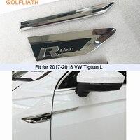 1Pair 3D Car Styling ABS Chromed Side Wing Badge Emblem Fender Rline Car Sticker for VW volkswagen Tiguan L 2017 2018