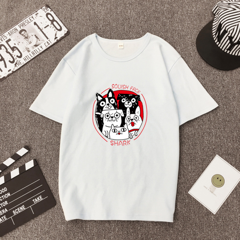 Summer New Style Female T-shirt O-neck Casual Student Cartoon Puppy Print Short-sleeved Fashion Sweet Leisure T-shirt Tide