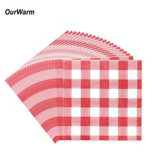 OurWarm 20Pcs Disposable Red Grid Paper Napkin Christmas Tableware Sets for Baby Birthday Home Decoration Supplies