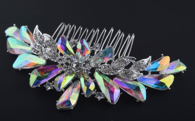 Top qualité Aurora couleur peigne à cheveux de mariée strass AB cristal pour les mariées vêtements de cheveux bijoux accessoires de mariage argent plaqué