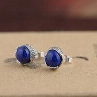 Deer King Lapis S925 Sterling Silver Earrings Jewelry Silver process female models simple fashion earrings