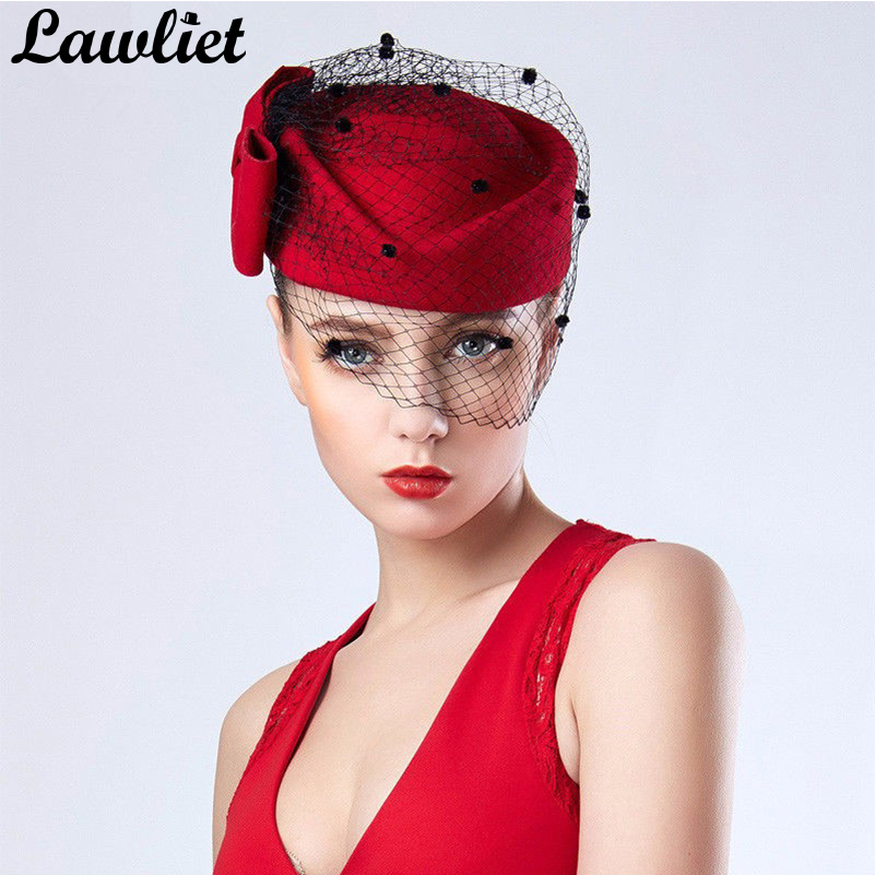 NEUE Frauen Fascinator Hüte Red Bowknot Schleier Wolle Pillbox Hüte Baskenmütze Hüte für Frauen Formal Dress Cocktail Race Hochzeit Hut Fedora