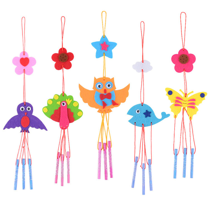 Handicraft Toys Children's Wind Chimes DIY Animals Kids Hands-On Production Hanging Ornament Interesting For Baby
