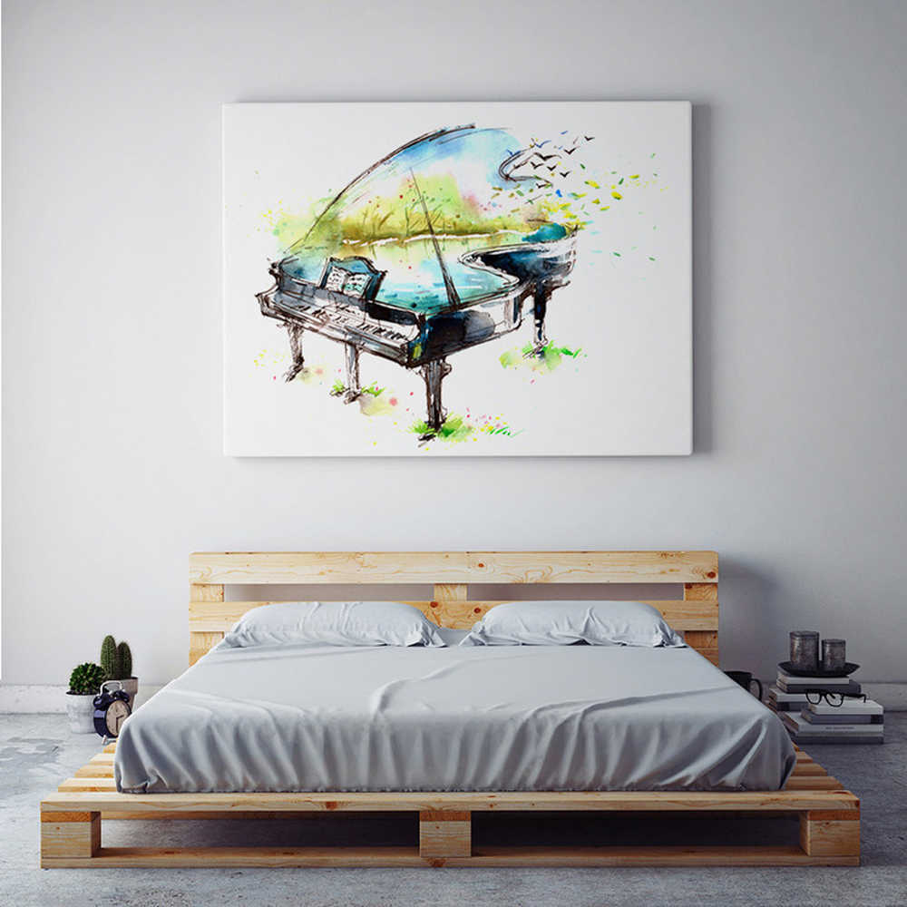Embelish Piano Guitar Violin Music Instrument Wall Posters HD Print Watercolor Oil Painting For Living Room Home Decor Pictures