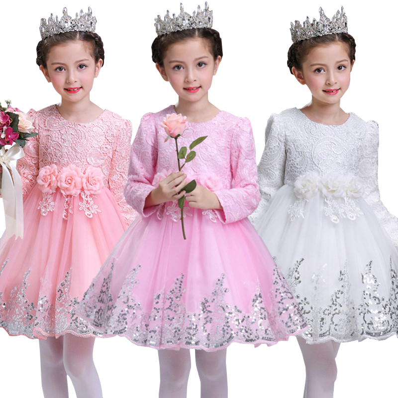 Girl Dress Party Birthday wedding princess Toddler baby Girls Christmas Clothes Children Kids Girl Dresses new 2017 baby girls ruffle sweater dress kids long sleeve princess party christmas dresses autumn toddler girl children clothes