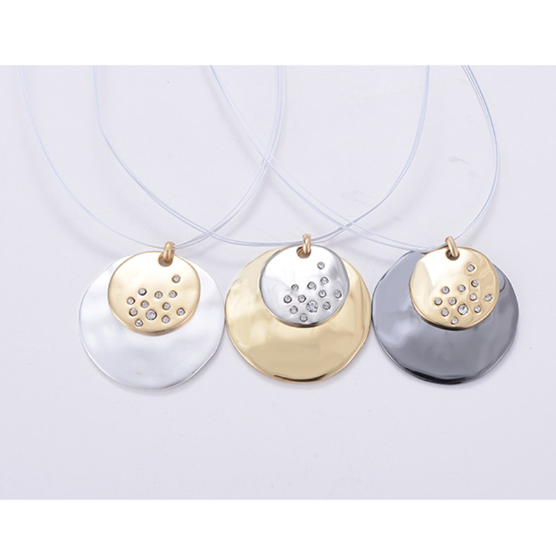 New 2018 Bijoux Fashion Jewelry Romantic Pendant Necklaces For Women Moon Round Silver Color Enamel Statement Necklaces Vintage in Chain Necklaces from Jewelry Accessories