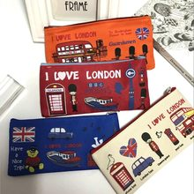 London style Pencil Pen Case Cosmetic Makeup Bag Pouch Holder Women Cosmetic Bags Fresh purse zipper Coin case Free Shipping(China)