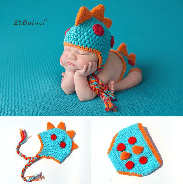 E&Bainel Newborn Photography Props Accessories Crochet Baby Hat For Children Knitted Dinosaur Boys Cap Set Baby Beanie Infant