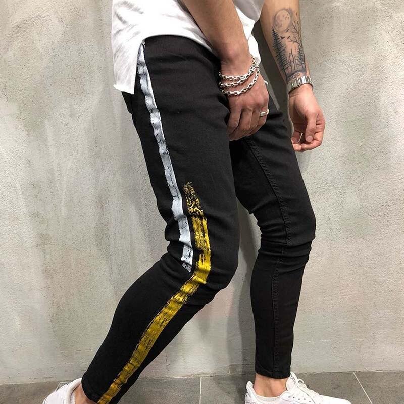Skinny Jeans Men Clothes Spring Denim Cotton Straight Hole Trousers Distressed Jeans Pants Denim Male Black Jeans