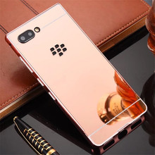 For Blackberry Key 2 case Luxury Mirror Aluminum Back Cover For Blackberry Key2 KEYTWO Metal Plating Frame Phone Shell Coque decorative colors crystal protective back case for blackberry 8520 8530