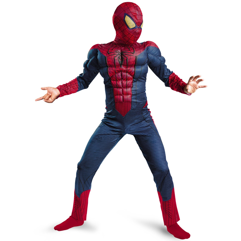 On Sale Child Boy <font><b>Amazing</b></font> <font><b>Spiderman</b></font> Movie Character Classic <font><b>Muscle</b></font> Marvel Fantasy Superhero Halloween Carnival Party Costume