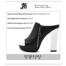 J&K 2017 Big Size 32-42 Fashion Women Shoes High Thick Heels Platform Slippers Women Outside Zipper Slides Shoes Woman Mules