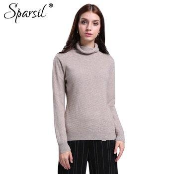 26874e0d82c0 Sparsil mujer otoño cuello alto Angora mezcla suéteres tejidos pulóveres  invierno manga larga punto suave estilo delgado suéter