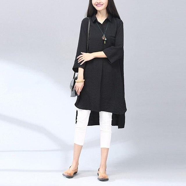 ZANZEA Women 2016 Elegant Vintage Cotton Long Shirts Casual Loose 3/4 Sleeve Lapel Split Asymmetrical Long Blouse Tops Oversized
