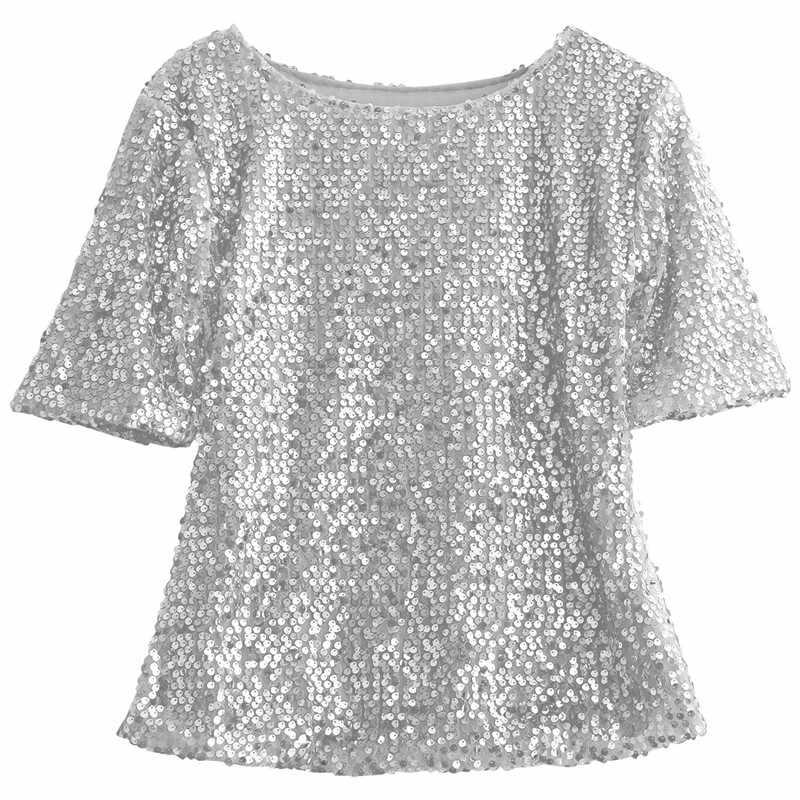 7fadbb2e430 Fashion High Street LadiesClothes Short Sleeve Round Neck Glistening Sequin  Blouse Slim Shirts Unique Design Solid