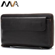 MVA cartera larga de cuero genuino para hombre, bolso de mano para monedas, monedero con cremallera, carteras para tarjetas de crédito, monedero de negocios