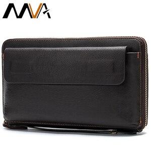 Image 1 - MVA uzun cüzdan erkek hakiki deri erkek el çantası için bozuk para cüzdanı erkek fermuar cüzdan kredi kart tutucu iş para çantaları