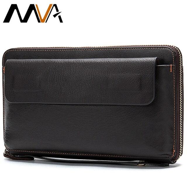 MVA uzun cüzdan erkek hakiki deri erkek el çantası için bozuk para cüzdanı erkek fermuar cüzdan kredi kart tutucu iş para çantaları