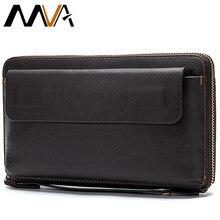 Portafoglio lungo da uomo MVA pochette da uomo in vera pelle per portamonete portafogli da uomo con cerniera porta carte di credito borse per soldi aziendali