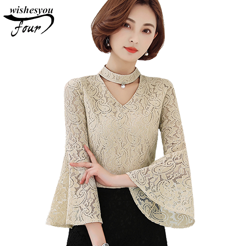 2018 new solid V-neck hollow out lace women's clothing sweet flare sleeves women   blouse     shirt   plus size women tops blusas D23 30