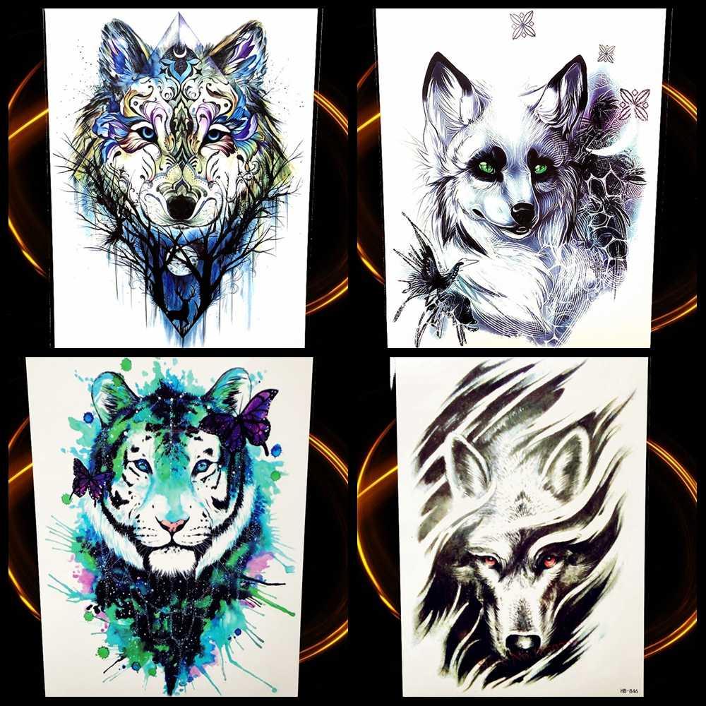Временная тату-наклейка Wolf Design для мужчин и женщин, водонепроницаемая тату-паста с тотемным рисунком волков, 21*15 см