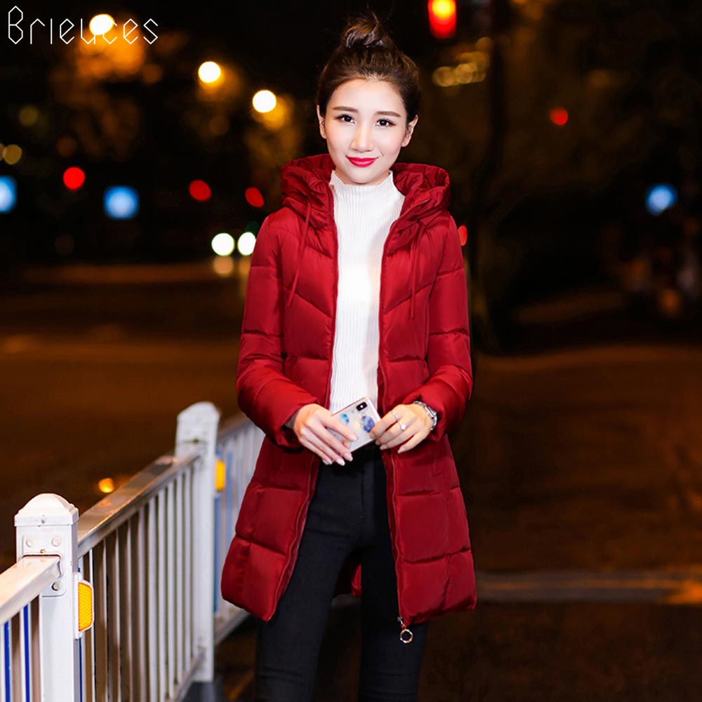 Brieuces 2018 Long Parkas ברדס נשים מעיל חורף מעיל מעיל חורף נשים לבוש לנשים מעיל חורף מעיל
