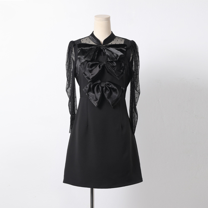 9aa6afd3f3 spring Black bow collar long sleeved gauze dress student lady clothes