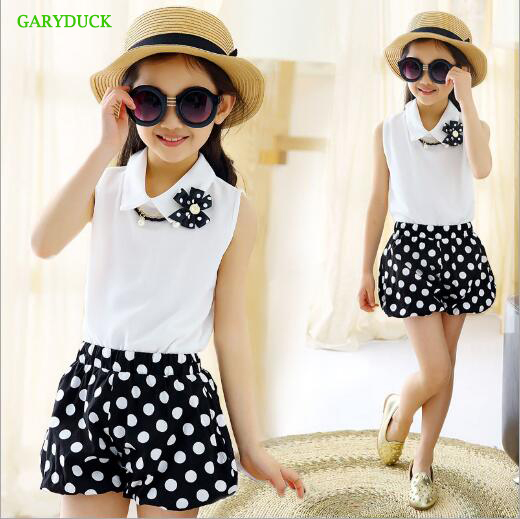 GARYDUCK Kids clothes Casual Girls suits 2017 summer dot chiffon sleeveless lapel Shirt+shorts Set baby Girl clothing sets 4-12Y 2017 summer girls clothing sets 2 colors chiffon plaid sleeveless shirt shorts suits baby girls princesas kids clothes 3 7t