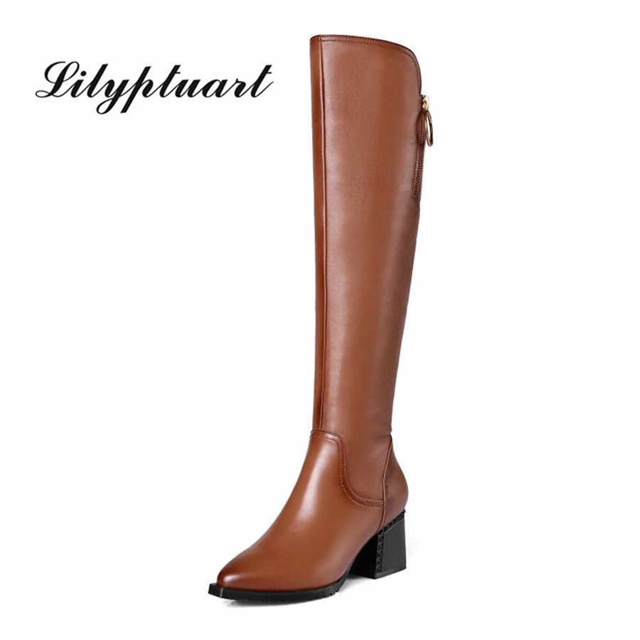 Estilo britânico material do couro com zíper botas decorativas apontadas grosso salto alto lado zíper sola de borracha botas de inverno