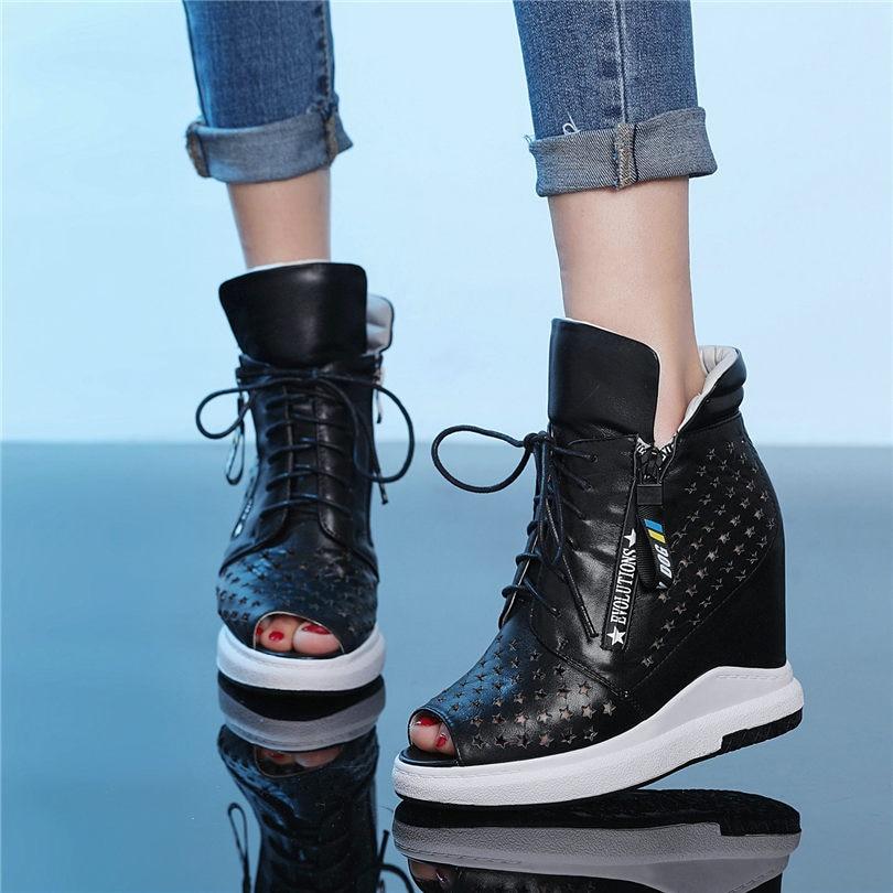 NAYIDUYUN для женщин черный, белый цвет пояса из натуральной кожи клинья Платформа римские сандалии гладиаторы открытый носок панк летние туфли