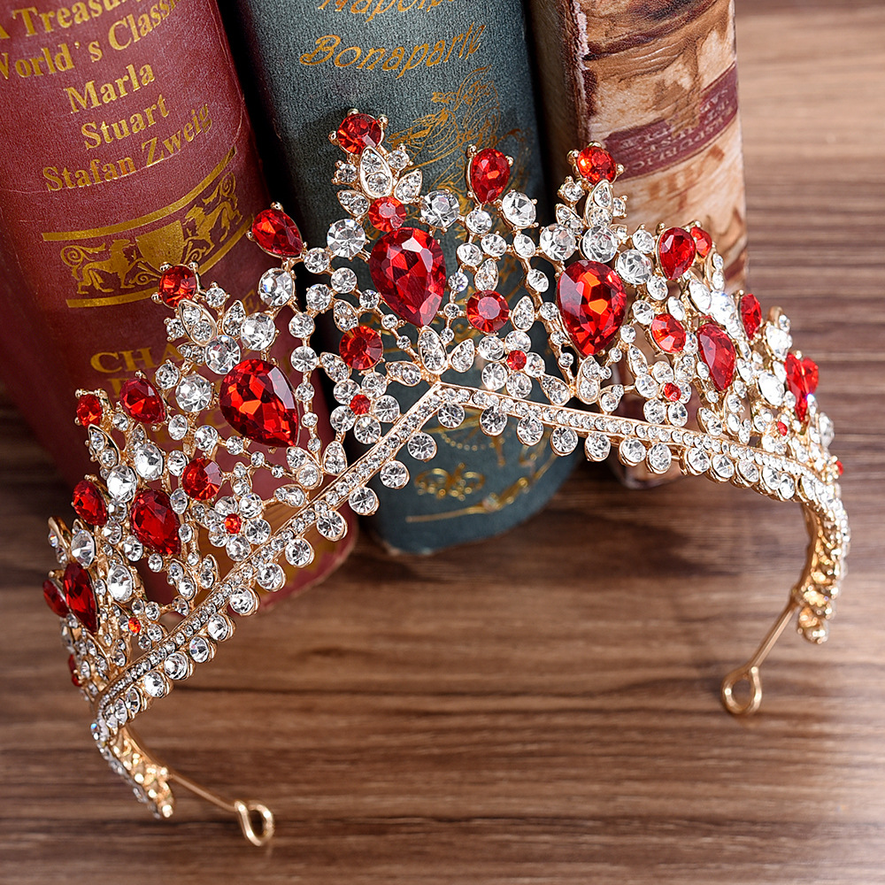 Newest Design European Red Crystal Crown Headwear Bridal Wedding Hair Accessories Jewelry Bride Tiaras Princess Crowns