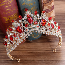 Newest Design European Red Crystal Crown Headwear Bridal Wedding Hair Accessories Jewelry Bride Tiaras Princess Crowns silver wedding crwon prince bridal crystal tiara crowns queen bride tiaras princess crowns headband wedding hair accessories