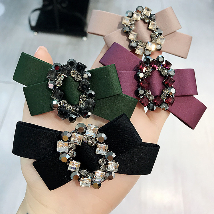 Korea Handmade Flower Crystal Hair Accessories For Girls Pearl Bows Rim Hairpin Clips  Barrette