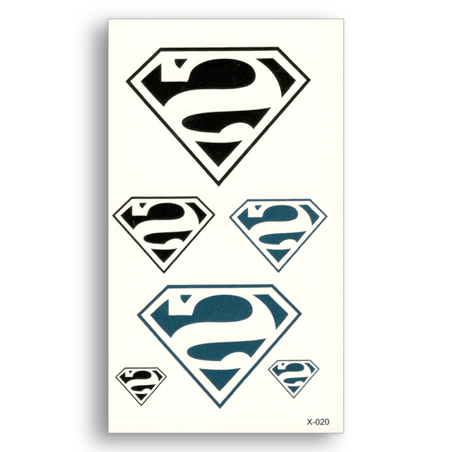 2 stks superman logo waterdichte tijdelijke tattoo sticker water transfer fake tattoo makeup auto stickers mannen