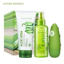 Nature Republic Natural Aloe Essence Moisturizing Set Face Mask Toner Cleaner Hand Cream Korean Skin Care