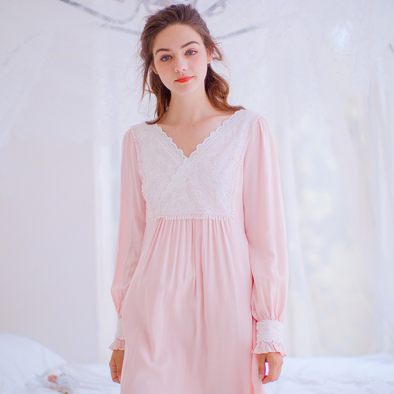 New Arrival Women Sweet Gowns Viscose Cotton Princess Nightgown Ladies Vintage Sleepwear Flench Style Dress 17251