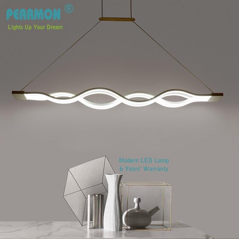 все цены на Modern LED Chandelier Light White Painted Aluminum & Acrylic for Dinning Room Bar Study Room Hanging Chandelier Lights 85-265V онлайн