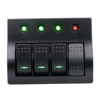 Car Boat Marine Bus Rocker Switch Panel 4 Gang Led Light Indicator Breaker Dc 12V Switch
