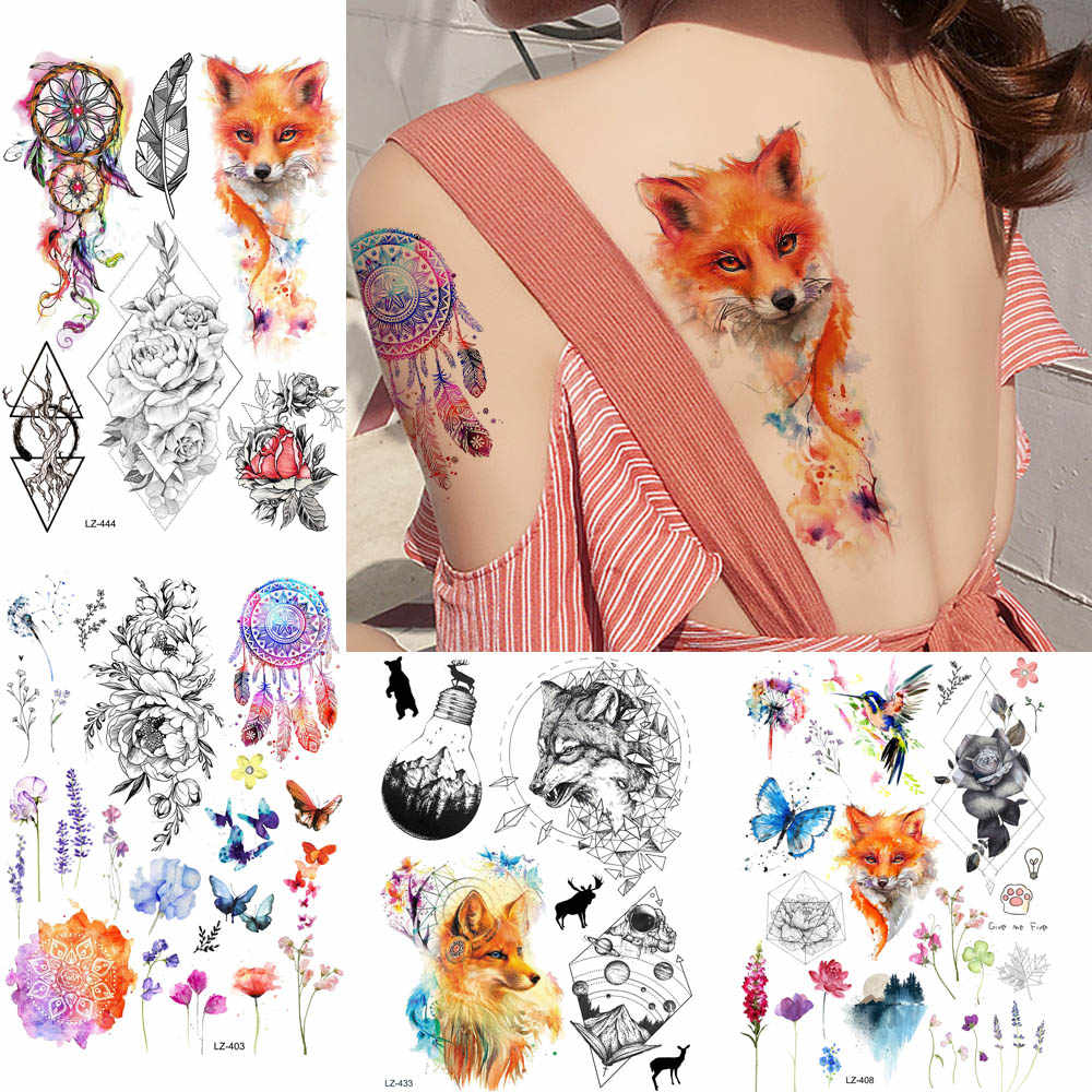 GoldOcean Sexy Flash Fake Fox Waterproof Tattoos Stickers Women Chest Body Arm Tattoo Temporary Dreamcather DIY Girl Flower Tato