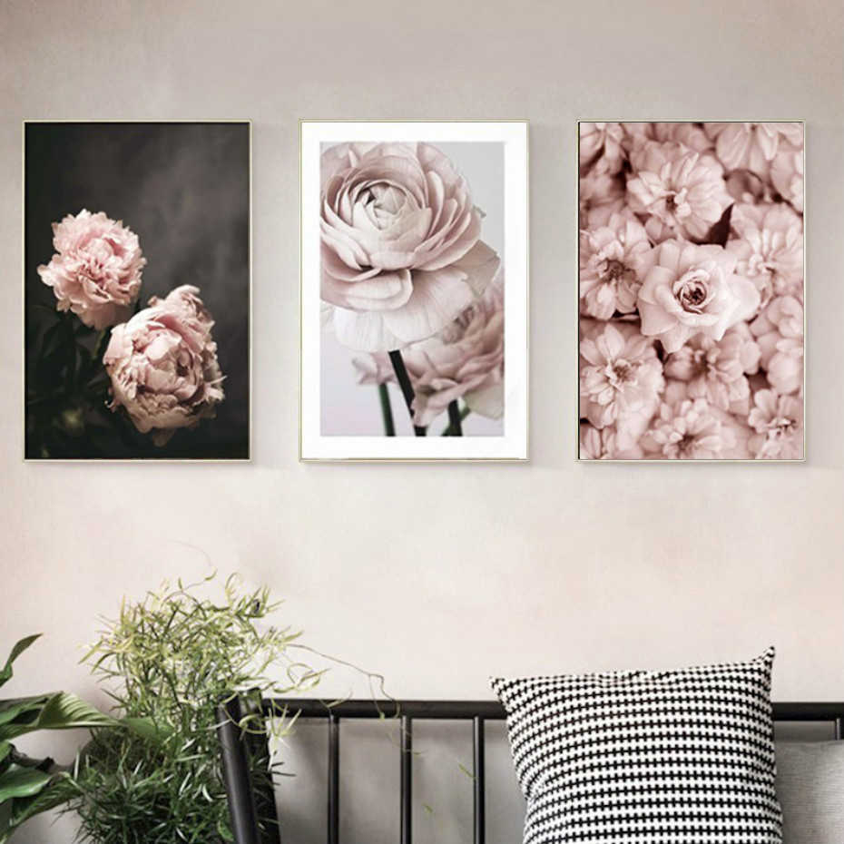 Home Decor Canvas Paintings Nordic Romantic Modern Pink Rose Flowers Pictures Wall Art Printed Modular Poster For Living Room
