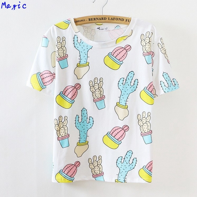 [Magic] 2016 new Korean style cotton t-shirt Women's tops tees Cactus/Ice cream/Animal/Watermelon print casual t shirt 16color