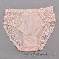 Hot-selling vrouwen zijden slipje 100% natuurlijke zijde kant decoratie sexy zijde gebreide mid taille slips