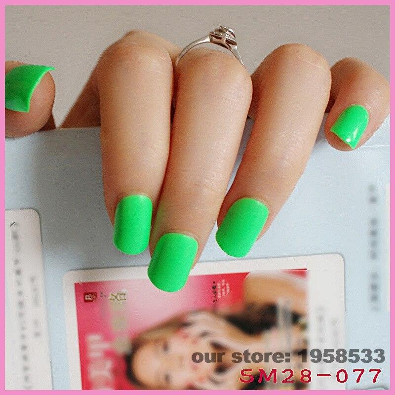 24pcs/set Candy Color Bright Green Fake Nails False Nail Finished ...