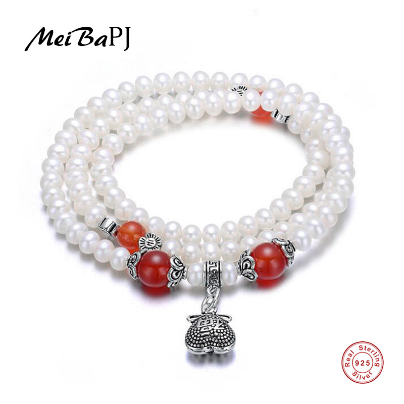 [MeiBaPJ] 48cm Thai Silver Bracelet Natural Pearl Vintage Red Agate Bracelet for Women Chinese Characteristics Blessing Bangle [meibapj] 48cm thai silver bracelet natural pearl red stone bracelet for women chinese characteristics blessing bangle