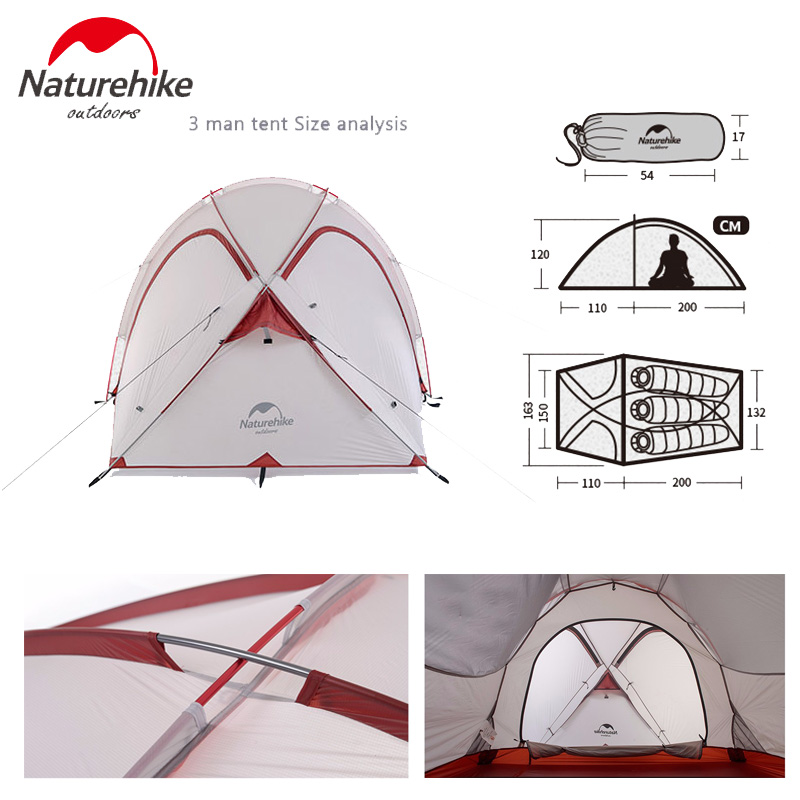 Naturehike 2 3 person Waterproof Double layer Tent For C&ingHikingClimbingTravel With A Living Room NH17K230 N-in Tents from Sports u0026 Entertainment on ...  sc 1 st  AliExpress.com : 2 man tent size - memphite.com