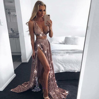 Sexy Deep V Neck Split Sequined Party Dress Sleeveless Crop Top Outfit Hollow Out Skirt Two Piece Sexy Outfits For Women